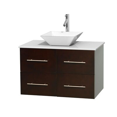 Centra 36 Single Bathroom Vanity Set Base Finish: Matte White, Basin Finish: Pyra Bone