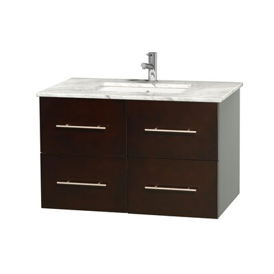 Centra 36 Single Bathroom Vanity Set Base Finish: Espresso, Top Finish: White Carrera