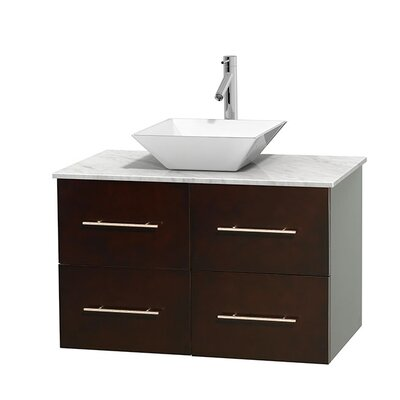 Centra 36 Single Bathroom Vanity Set Base Finish: Espresso, Top Finish: White Carrera, Basin Finish: White Porcelain