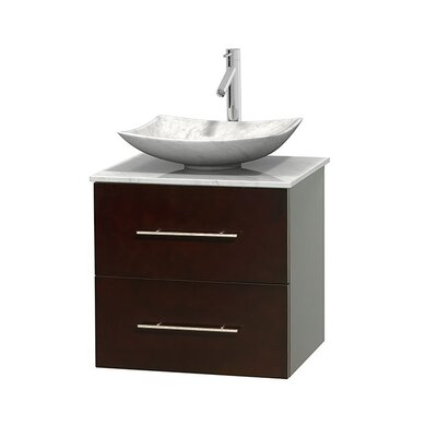 Centra 24 Single Bathroom Vanity Set Base Finish: Espresso, Top Finish: White Carrera, Basin Finish: Ivory Marble