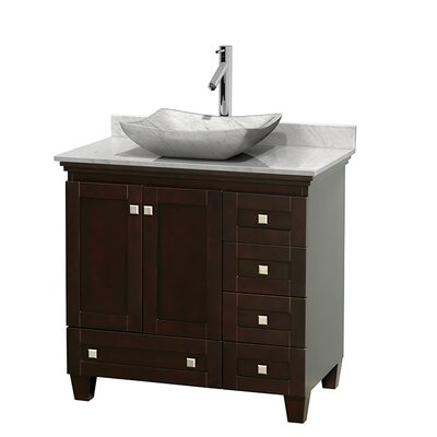 Acclaim 36 Single Bathroom Vanity Set Base Finish: White, Top Finish: White Carrera, Basin Finish: Avalon Ivory