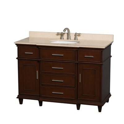 Berkeley 48 Single Bathroom Vanity Set Base Finish: Dark Chestnut, Top Finish: Ivory