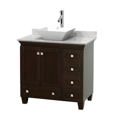 Acclaim 36 Single Bathroom Vanity Set Base Finish: Espresso, Top Finish: White Carrera, Basin Finish: White Porcelain