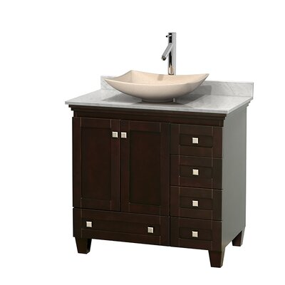 Acclaim 36 Single Bathroom Vanity Set Base Finish: Espresso, Top Finish: White Carrera, Basin Finish: White Carrera Marble