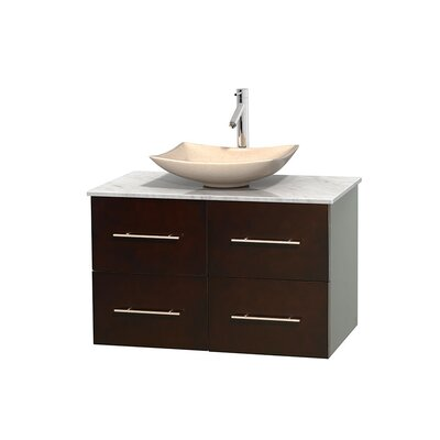 Centra 36 Single Bathroom Vanity Set Base Finish: Matte White, Basin Finish: White Carrera Marble, Top Finish: Ivory