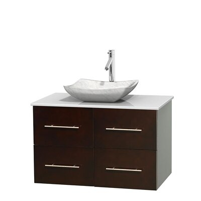 Centra 36 Single Bathroom Vanity Set Base Finish: Matte White, Basin Finish: Avalon White Carrera