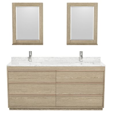 Naya 72 Double Ash Gray Bathroom Vanity Set with Mirror