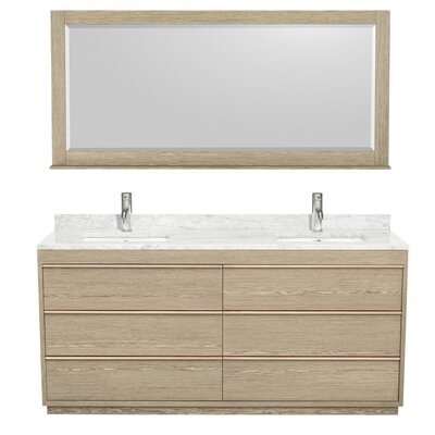 Naya 71 Double Ash Gray Bathroom Vanity Set with Mirror