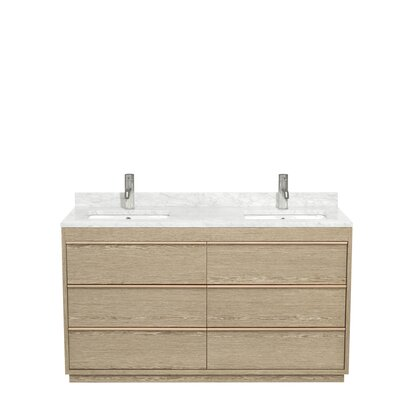 Naya 60 Double Ash Gray Bathroom Vanity Set