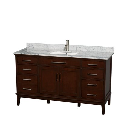 Hatton 60 Single Bathroom Vanity Set Base Finish: Light Chestnut, Top Finish: Ivory