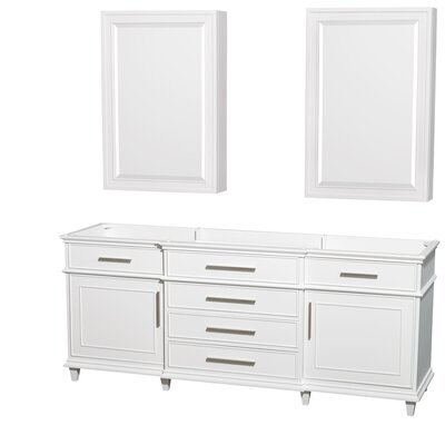 Berkeley 79 Double Bathroom Vanity Base Base Finish: White