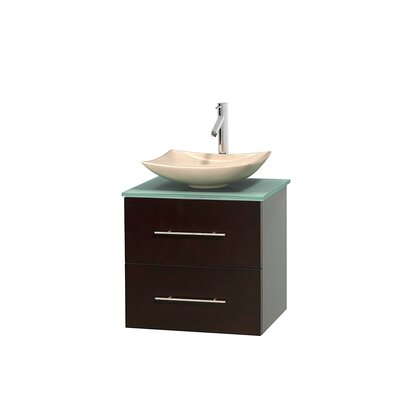 Centra 23 Single Bathroom Vanity Set Basin Finish: Arista White Carrera, Base Finish: Matte White