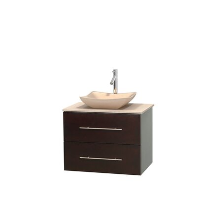 Centra 30 Single Bathroom Vanity Set Base Finish: Espresso, Basin Finish: White Carrera Marble, Top Finish: Ivory