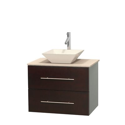 Centra 30 Single Bathroom Vanity Set Base Finish: Gray Oak, Top Finish: White Carrera, Basin Finish: White Porcelain