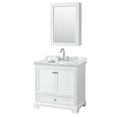 Deborah 36 Single Bathroom Vanity Set with Medicine Cabinet Base Finish: White