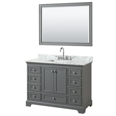 Deborah 48 Single Bathroom Vanity Set with Mirror Base Finish: Dark Gray