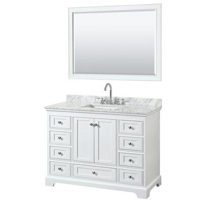 Deborah 48 Single Bathroom Vanity Set with Mirror Base Finish: White