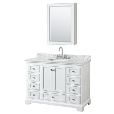 Deborah 48 Single Bathroom Vanity Set with Medicine Cabinet Base Finish: White