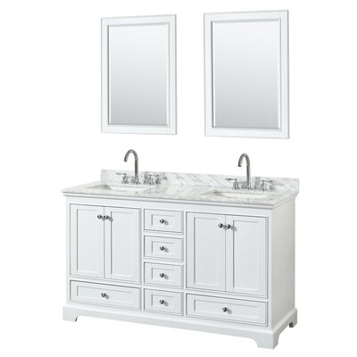 Deborah 60 Double Bathroom Vanity Set with Mirror Base Finish: White