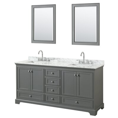 Deborah 72 Double Bathroom Vanity Set with Mirror Base Finish: Dark Gray