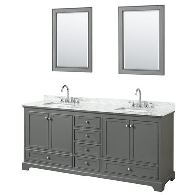 Deborah 80 Double Bathroom Vanity Set with Mirror Base Finish: Dark Gray