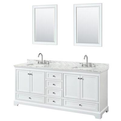 Deborah 80 Double Bathroom Vanity Set with Mirror Base Finish: White