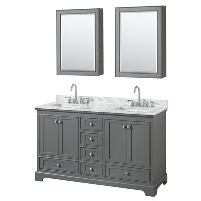 Deborah 60 Double Bathroom Vanity Set with Medicine Cabinet Base Finish: Dark Gray