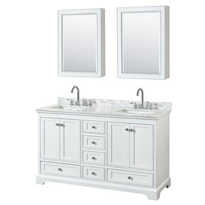 Deborah 60 Double Bathroom Vanity Set with Medicine Cabinet Base Finish: White