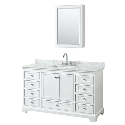 Deborah 60 Single Bathroom Vanity Set with Medicine Cabinet Base Finish: White