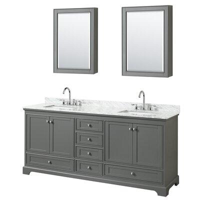 Deborah 80 Double Bathroom Vanity Set with Medicine Cabinet Base Finish: Dark Gray