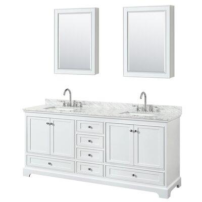 Deborah 80 Double Bathroom Vanity Set with Medicine Cabinet Base Finish: White