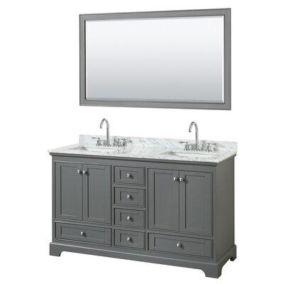 Deborah 60 Double Bathroom Vanity Set with Mirror Base Finish: Dark Gray