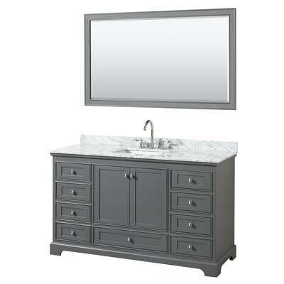 Deborah 60 Single Bathroom Vanity Set with Mirror Base Finish: Dark Gray