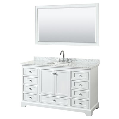 Deborah 60 Single Bathroom Vanity Set with Mirror Base Finish: White