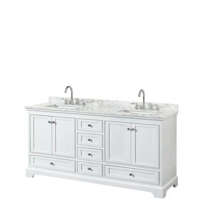 Deborah 72 Double Bathroom Vanity Set Base Finish: White