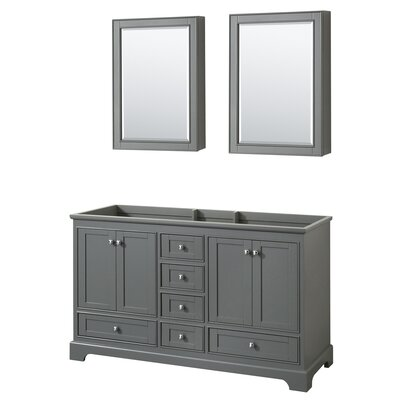 Deborah 59.25 Double Bathroom Vanity Base Base Finish: Dark Gray
