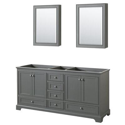 Deborah 71 Double Bathroom Vanity Base Base Finish: Dark Gray