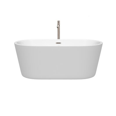 Carissa 60 x 32 Freestanding Soaking Bathtub Color: Brushed Nickel