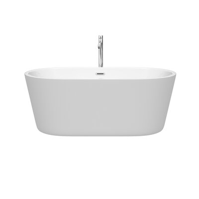 Carissa 60 x 32 Freestanding Soaking Bathtub Color: Chrome
