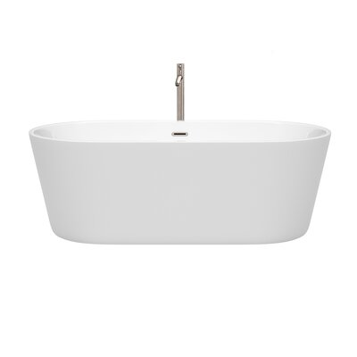 Carissa 67 x 32 Freestanding Soaking Bathtub Color: Brushed Nickel