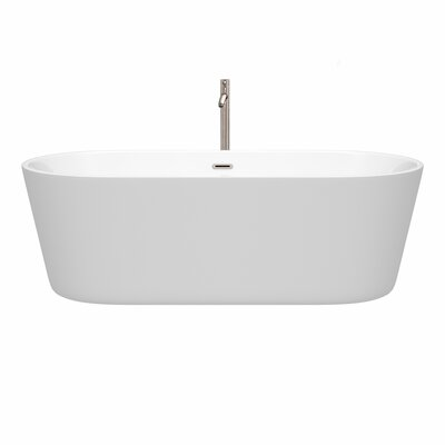 Carissa 71 x 32 Freestanding Soaking Bathtub Color: Brushed Nickel