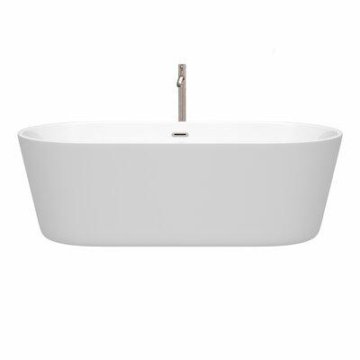 Carissa 71 x 32 Freestanding Soaking Bathtub Color: Brushed Nickel