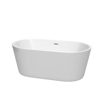 Carissa 60 x 32 Freestanding Soaking Bathtub Color: Chrome