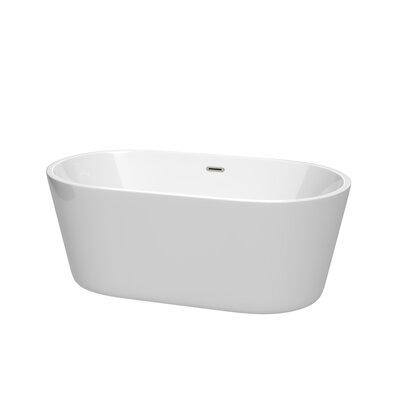 Carissa 60 x 32 Freestanding Soaking Bathtub Color: Brushed Nickel