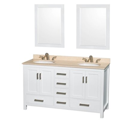Sheffield 60 Double White Bathroom Vanity Set with Mirror Top Finish: Ivory Marble, Faucet Mount: 8 Centers