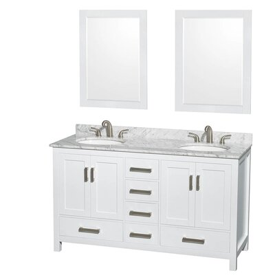 Sheffield 60 Double White Bathroom Vanity Set with Mirror Top Finish: White Carrera Marble, Faucet Mount: 8 Centers