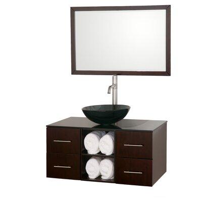 Abba 36 Single Bathroom Vanity Set with Mirror Top Finish: Smoke Glass, Sink Finish: Smoke Glass