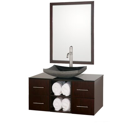 Abba 36 Single Bathroom Vanity Set with Mirror Top Finish: Smoke Glass, Sink Finish: Black Granite