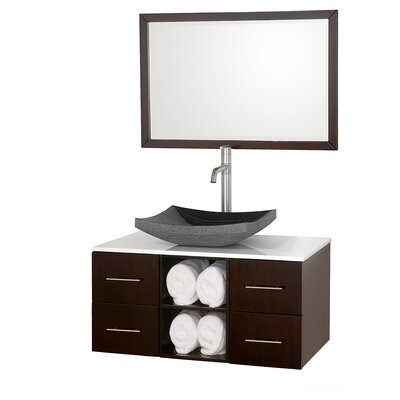 Abba 36 Single Bathroom Vanity Set with Mirror Top Finish: White Man-Made Stone, Sink Finish: Black Granite