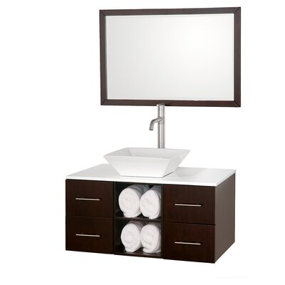 Abba 36 Single Bathroom Vanity Set with Mirror Top Finish: White Man-Made Stone, Sink Finish: White Carrera Marble